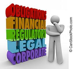 verplichtingen, denker, 3d, woorden, financieel, regulatory,...