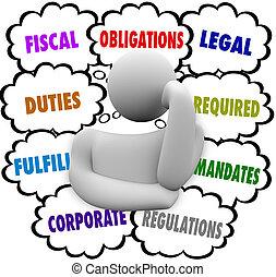 verplichtingen, denker, gedachte, wolken, fiscaal,...