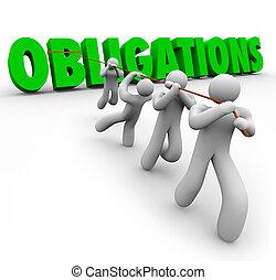 verplichtingen, woord, getrokken, op, door, team, werkmannen...