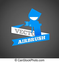 verpulveren, airbrush, of, vector., geweer