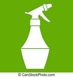 verpulveren, bloem, groene, fles, pictogram