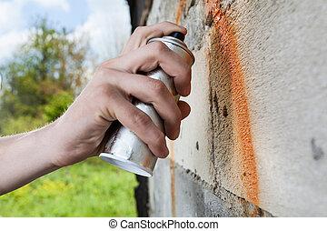 verpulveren, graffiti, holdingshand