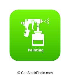 verpulveren, groene, geweer, pictogram