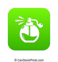 verpulveren, parfum, groene, fles, pictogram
