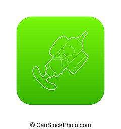 verpulveren, pictogram, groene, hand, insecticide