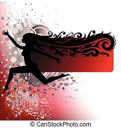verpulveren, silhouette, rennende , meisje