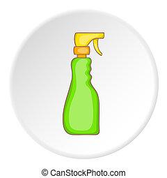 verpulveren, stijl, fles, spotprent, pictogram, groene, huisgezin