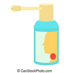 verpulveren, stijl, keel, pictogram, spotprent, medicatie