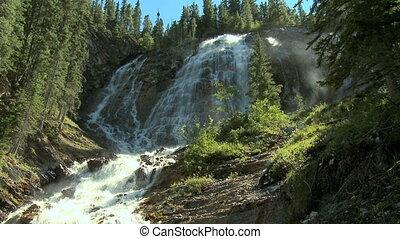 verpulveren, watervallen, in, de, rockies