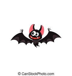 verrückt, fledermaus, fliegendes, halloween, vampir, abbildung, symbol, traditionelle , vektor, karikatur