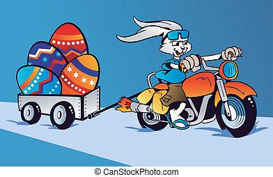 verrückt, karikatur, kaninchen, ostern, motorrad