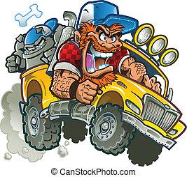 verrückt, lastwagen, ansteigen, redneck