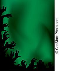 verrückt, silhouettes., nacht, zombie, hände, partei.