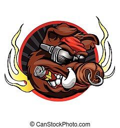 verraco, cabeza, deporte, mascota, equipo