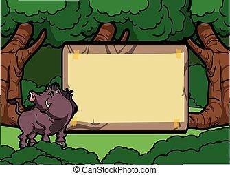 verraco, salvaje, madera, escena, bosque