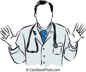 verrassing, gebaar, arts