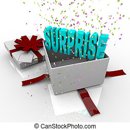 verrassing, kado, -, gelukkige verjaardag, giftdoos