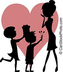 verrassing, mom!, dochter, zoon