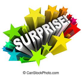 verrassing, starburst, woord, opwindende , nieuws, informatie