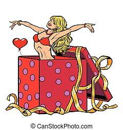 verrassing, vrouw, striptease, cadeau