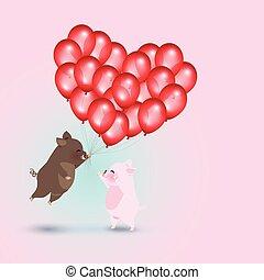 verrat, sauvage, ballons, rouges, cochon