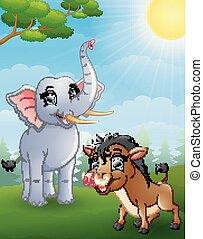 verrat, sauvage, dessin animé, jungle, éléphant