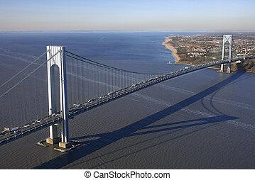 Verrazano-Narrow\'s Bridge. - Aerial view of New York...