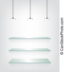 verre, étagères, lumière spot