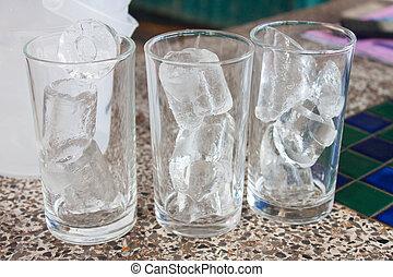 verre, 3, boire, glace