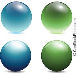 verre, 3d, sphères