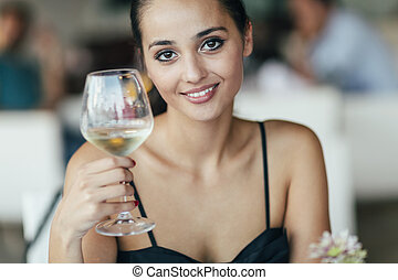 verre, abrutissant, tenue femme, vin