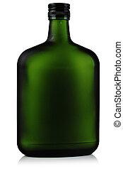 verre, alcool, vert, bottles.