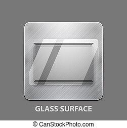 verre, app, métal, bouton, surface