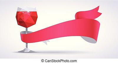 verre, arrière-plan rouge, magenta, ruban, vin