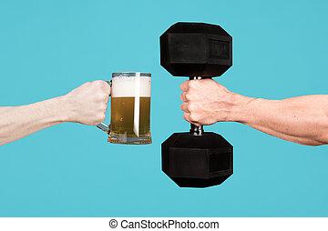 verre, autre, tenue, bière, haltère, chaque, hommes, grand, dehors