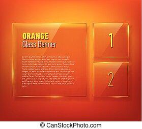 verre, bannières, ensemble, ton, design.