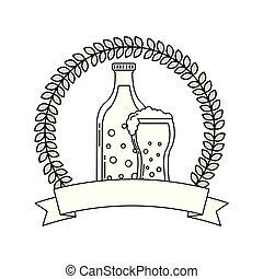 verre, bière, boisson, emblème, botlle