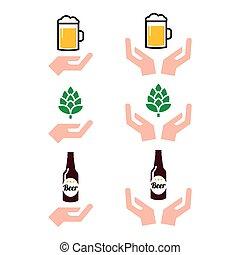 verre bière, bouteille, mains, alcool, métier, houblon, amour, icônes, ensemble, boisson, -, conception