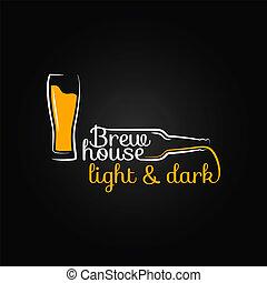 verre bière, bouteille, maison, conception, fond