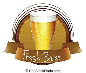 verre, bière, frais, froid, étiquette
