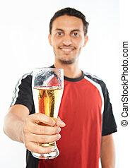 verre, bière, homme, main