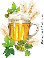 verre, bière, mousse, orge