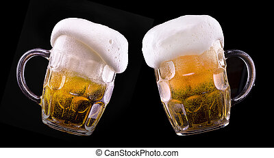 verre, bière, noir