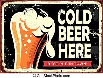 verre, bière, pub, signe