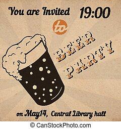 verre, bière, retro, carte, invitation