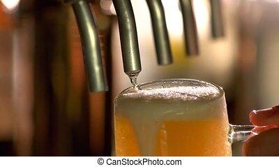 verre, bière, tap., débordement, sous