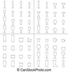 verre, bière, vecteur, vin, tasse