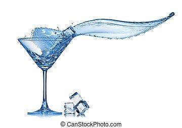 verre, blanc, éclaboussure, isolé, martini