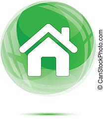 verre, blanc, icône, vert, maison