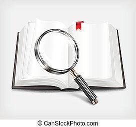 verre, blanc, livre, ouvert, magnifier